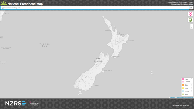 Screenshot of broadband map